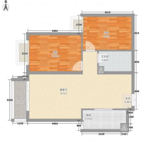 金汇大厦2室1厅1卫1厨93.00㎡户型图