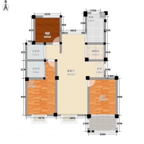 星盛家园3室1厅2卫1厨144.00㎡户型图