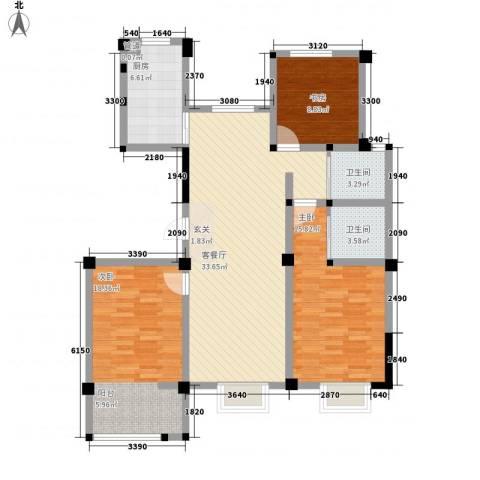 星盛家园3室1厅2卫1厨129.00㎡户型图