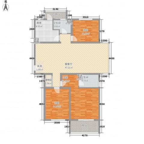 京城豪苑3室1厅2卫1厨138.24㎡户型图