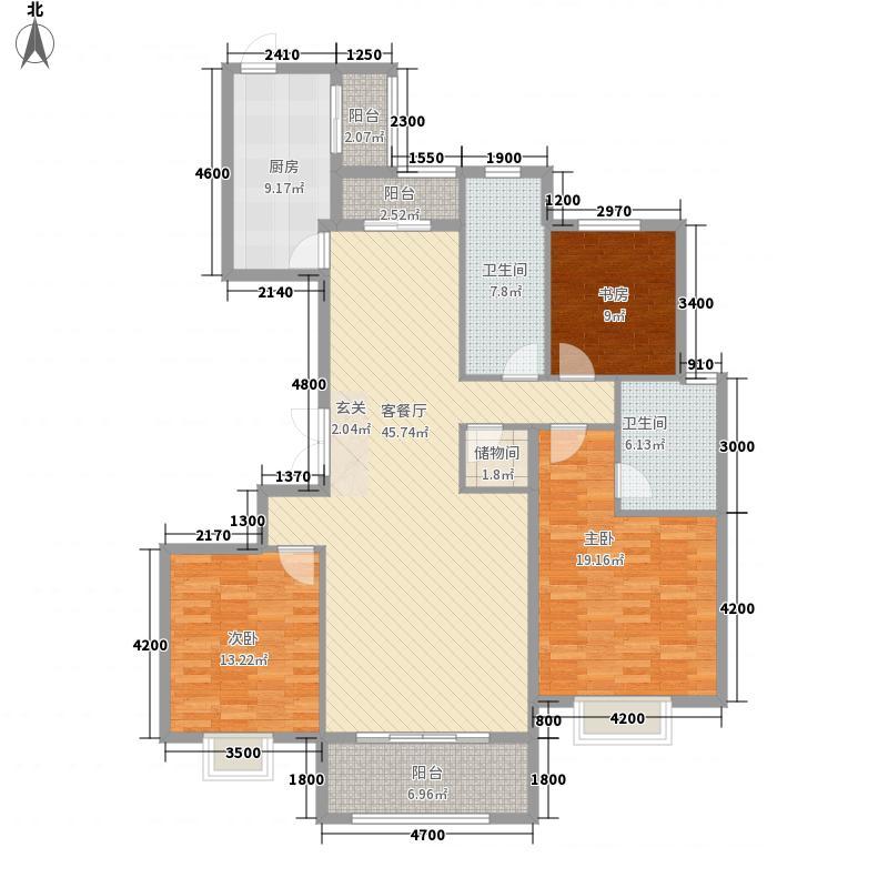大成・逐鹿会3室1厅2卫1厨172.00㎡户型图
