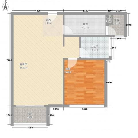置地逸轩1室1厅1卫1厨65.31㎡户型图