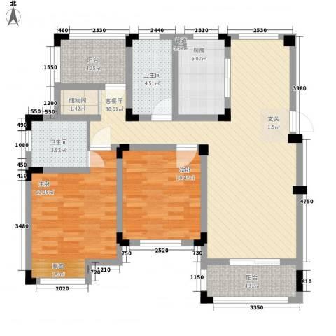 东渡海韵艺墅香颂湾2室1厅2卫1厨115.00㎡户型图