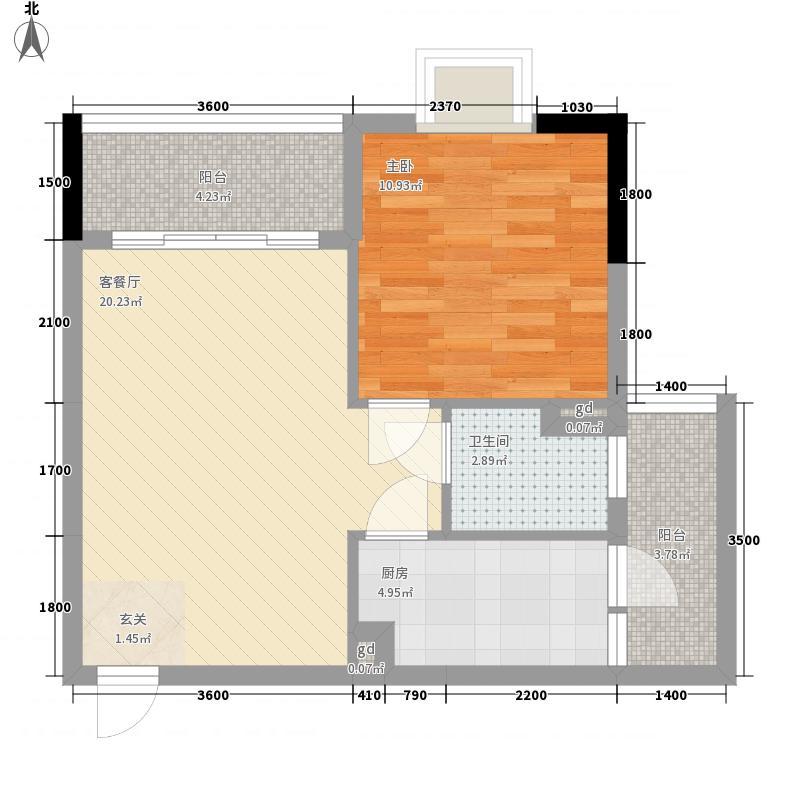 世纪城・圣廷苑54.00㎡华裕阁2、3幢B户型1室2厅1卫1厨