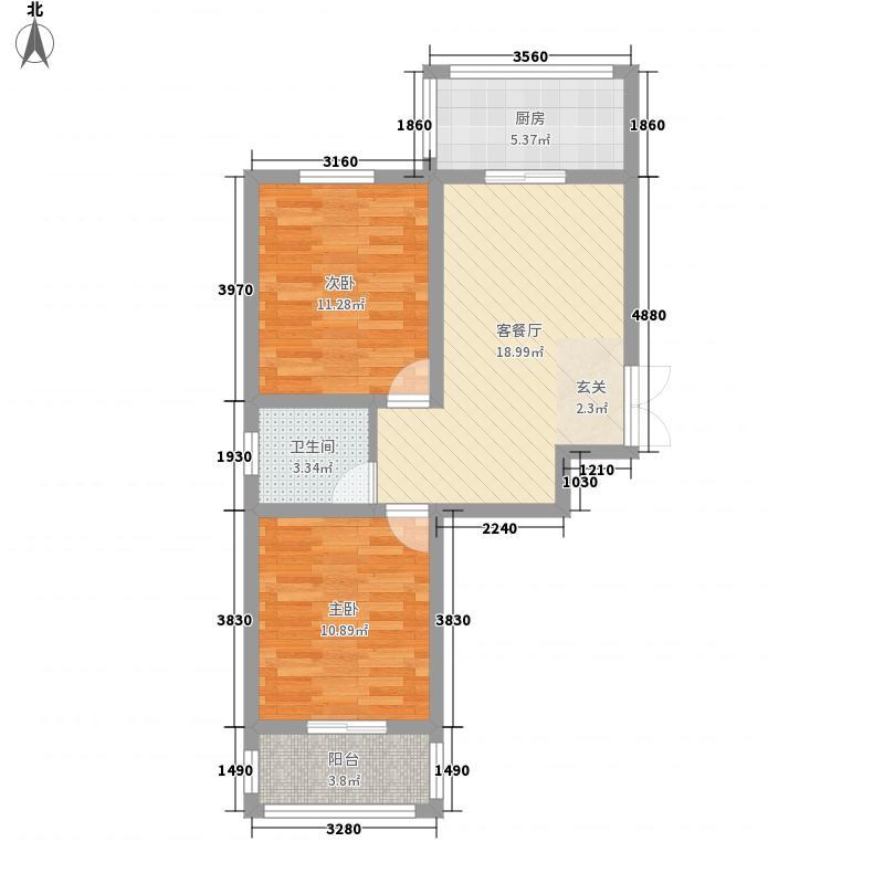 西安沣惠新佳苑78.11㎡A3户型2室2厅1卫1厨