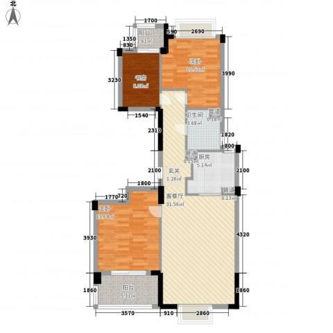 罗蒙环球城3室1厅1卫1厨111.00㎡户型图