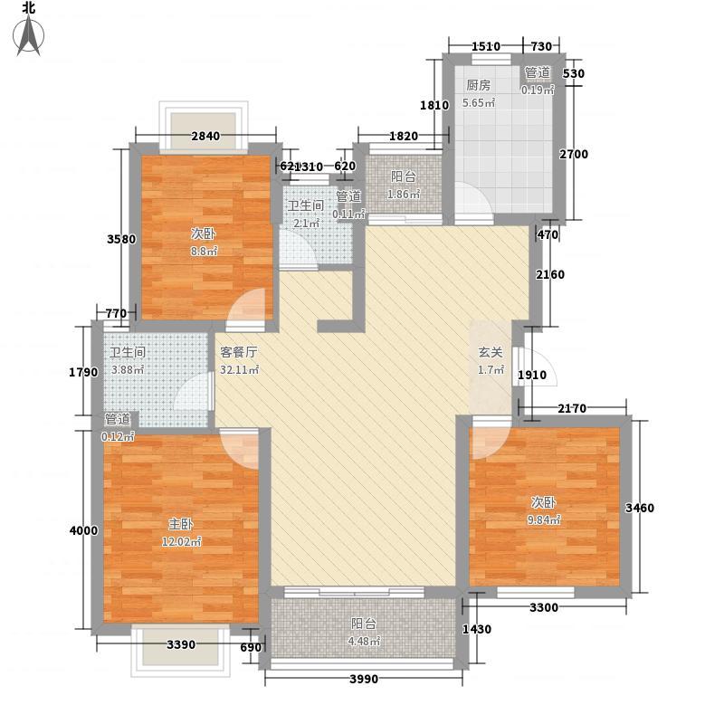 江南欣苑118.36㎡I户型3室2厅2卫1厨