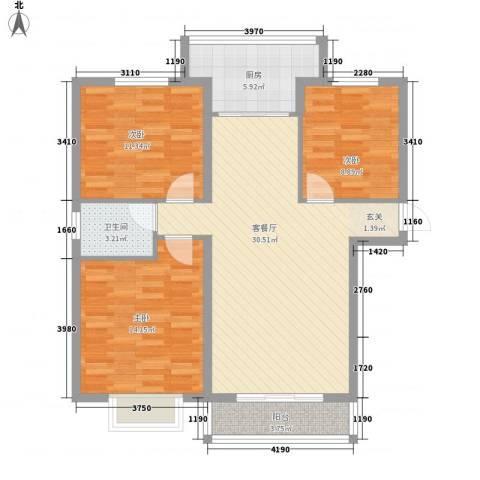 建昊大厦3室1厅1卫1厨110.00㎡户型图