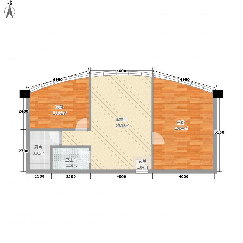 摩卡空间户型2室2厅1卫1厨