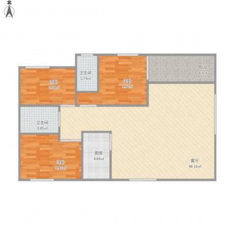 金碧时代广场1-1-8023室1厅2卫1厨115.00㎡户型图