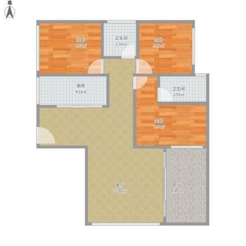 金碧时代广场1-1-802三房127平3室1厅2卫1厨80.00㎡户型图