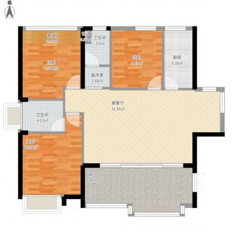 星光礼寓3室2厅2卫1厨133.00㎡户型图