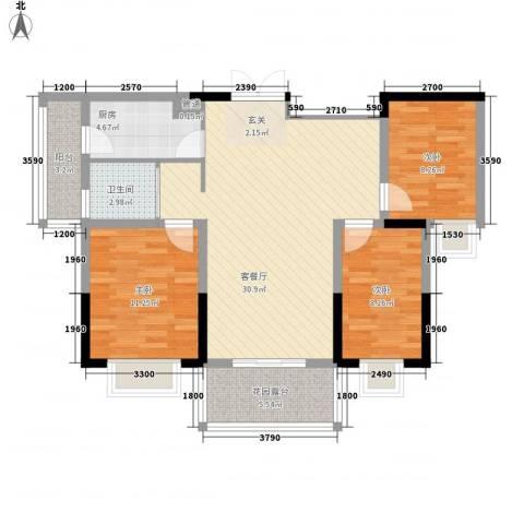 百商又一城3室1厅1卫1厨96.00㎡户型图