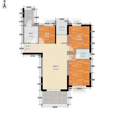 百商又一城3室1厅2卫1厨100.00㎡户型图
