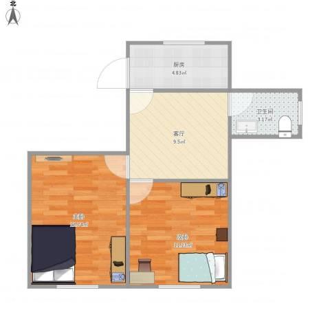 莘中新村46--2112室1厅1卫1厨58.00㎡户型图
