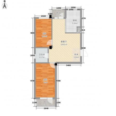 泰锋俪景城2室1厅1卫1厨74.00㎡户型图