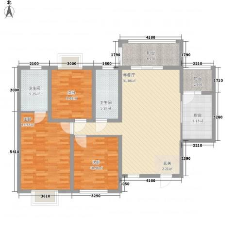 朝霞社区3室1厅2卫1厨134.00㎡户型图