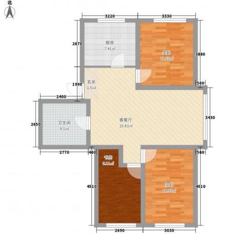 鹏辉广场3室1厅1卫1厨102.00㎡户型图