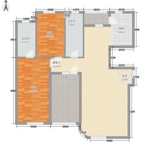 慧谷阳光2室1厅2卫0厨140.00㎡户型图