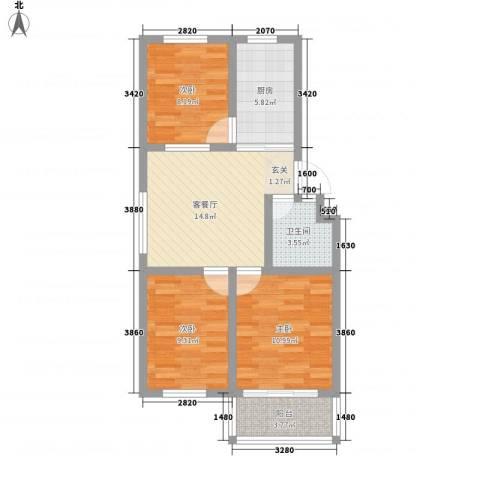 卧龙新区3室1厅1卫1厨77.00㎡户型图