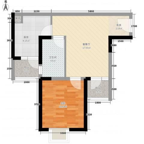 嘉隆苑二期1室1厅1卫1厨64.00㎡户型图