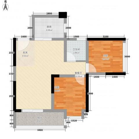 鸿翠阁2室1厅1卫1厨77.00㎡户型图