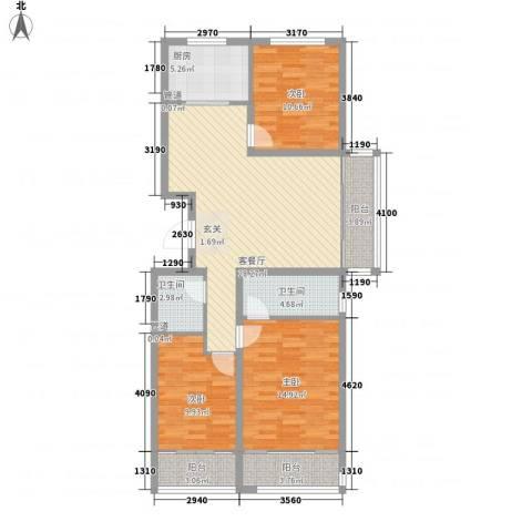 逸城山色3室1厅2卫1厨125.00㎡户型图
