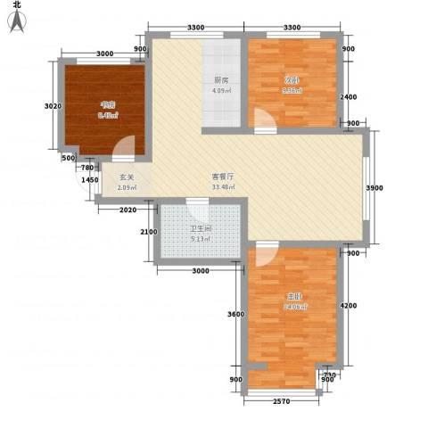 和泰馨城3室1厅1卫0厨92.00㎡户型图