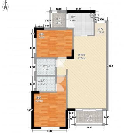 碧月湾花园2室1厅2卫1厨85.00㎡户型图