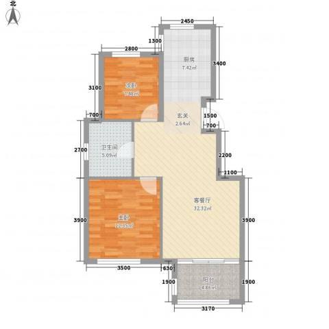 鼎新悦府2室1厅1卫0厨87.00㎡户型图