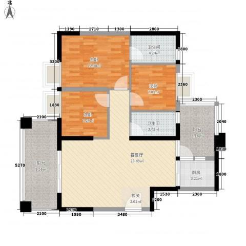 和润家园3室1厅2卫1厨82.07㎡户型图