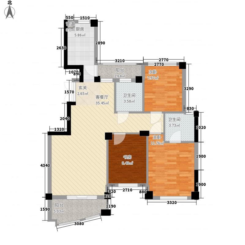 四季桂花园115.11㎡三期丹桂苑-H户型3室2厅2卫1厨