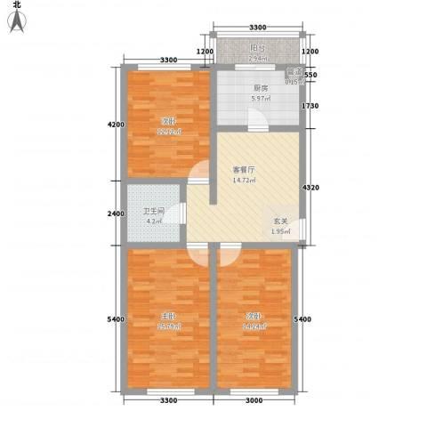 世代锦绣园3室1厅1卫1厨95.00㎡户型图