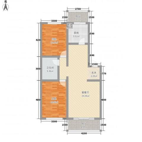 世代锦绣园2室1厅1卫1厨106.00㎡户型图