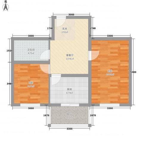 世代锦绣园2室1厅1卫1厨78.00㎡户型图