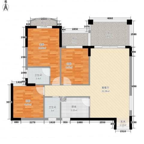 怡翠玫瑰园3室1厅2卫1厨128.00㎡户型图