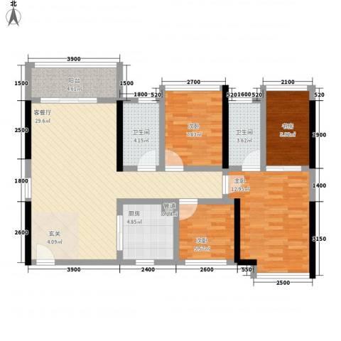 鸿翠阁4室1厅2卫1厨79.25㎡户型图