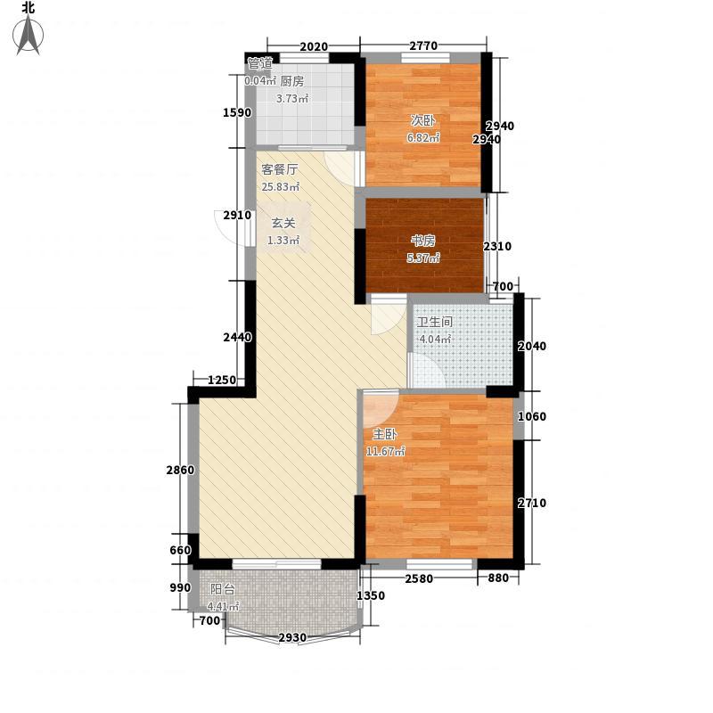奥林运河湾五期16#楼D1户型3室2厅1卫1厨