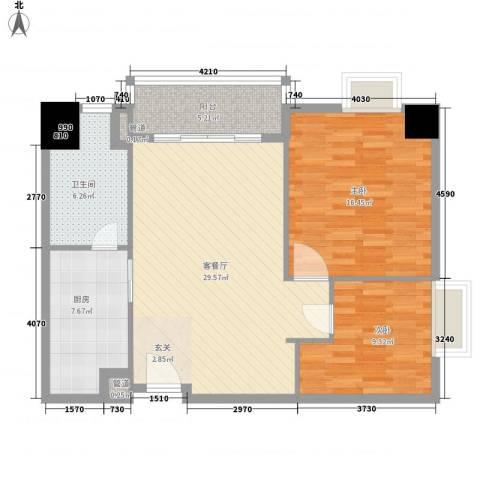 第一国际2室1厅1卫1厨105.00㎡户型图