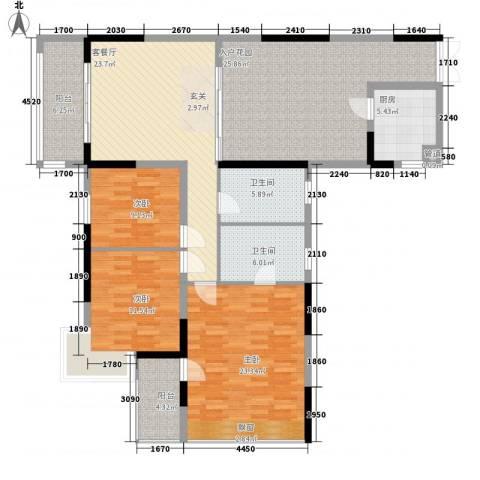 江畔花园3室1厅2卫1厨172.00㎡户型图