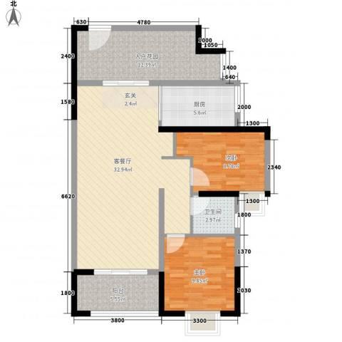 和润家园2室1厅1卫1厨78.08㎡户型图