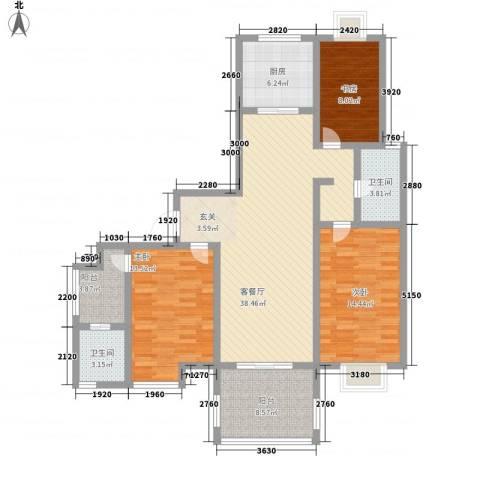 如意花园3室1厅2卫1厨111.20㎡户型图