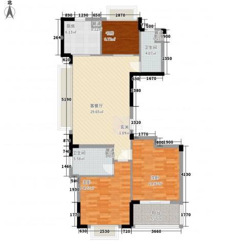 罗蒙环球城3室1厅2卫1厨124.00㎡户型图