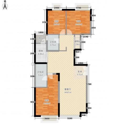 华业大厦3室1厅2卫1厨142.00㎡户型图