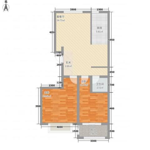 润东花园2室1厅1卫0厨68.38㎡户型图