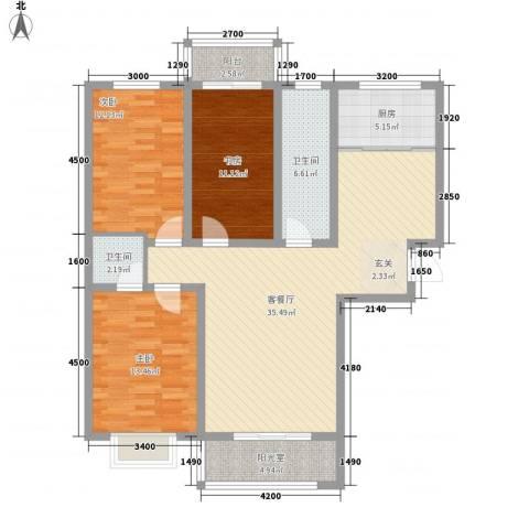 景观花园三期3室1厅2卫1厨135.00㎡户型图
