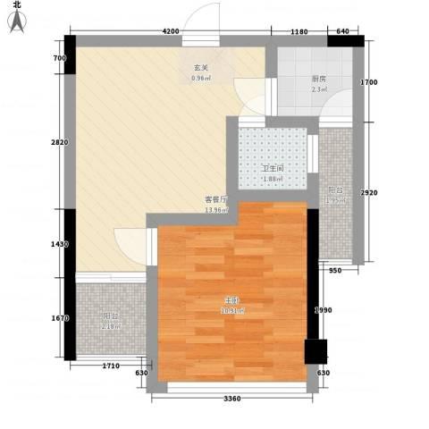 IP菁英时代1室1厅1卫1厨33.18㎡户型图