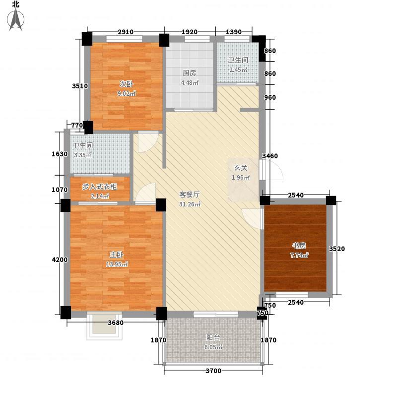 东华花园111.70㎡一期a19户型3室2厅2卫1厨