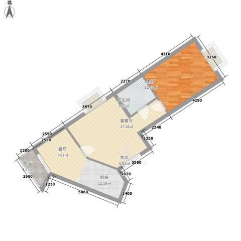枫桥国际1室1厅1卫1厨67.00㎡户型图