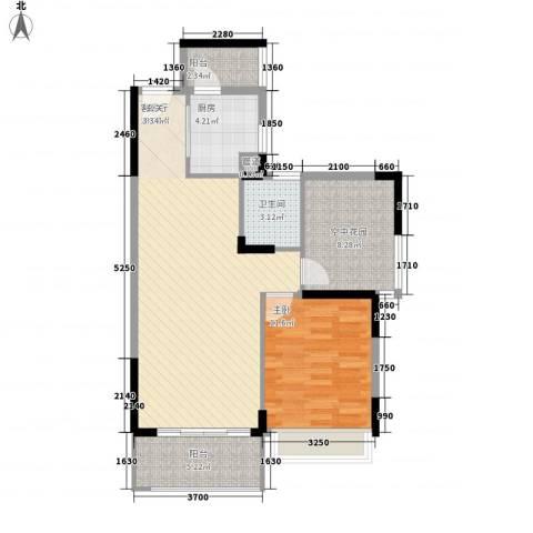 文华二期1室1厅1卫1厨90.00㎡户型图